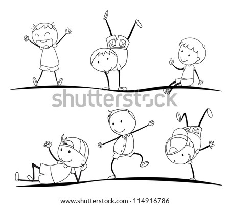 illustration of kids sketches on a white background - Kids Sketches