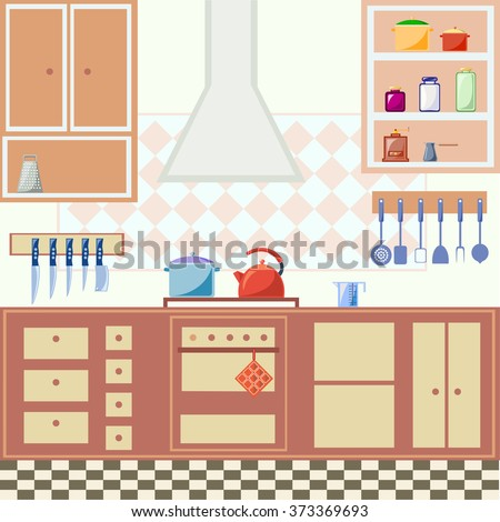 Illustration of kitchen interior with cooking utensils