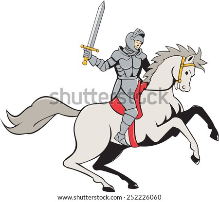 Illustration of knight in full armor riding horse steed with sword facing side set on isolated white background done in cartoon style. - stock photo
