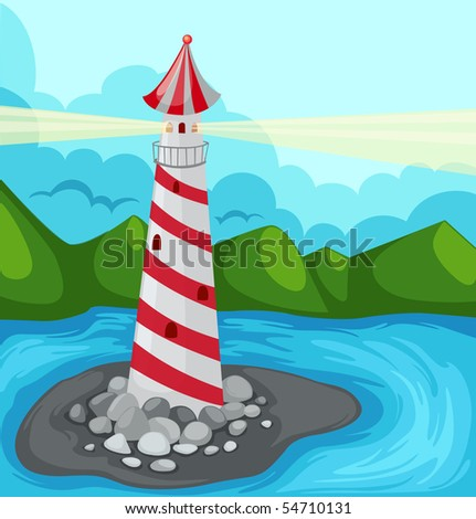 illustration of landscape lighthouse - stock photo