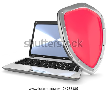 Illustration of laptop computer and red shield isolated on white