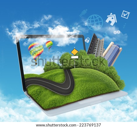 illustration of laptop with meadow, road and skyscrapers