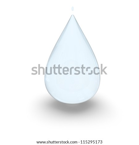 Illustration of large water drop isolated on white background