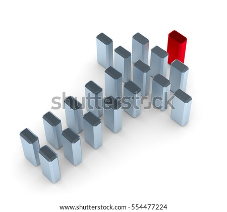 Illustration of leader leads small team forward. 3d render