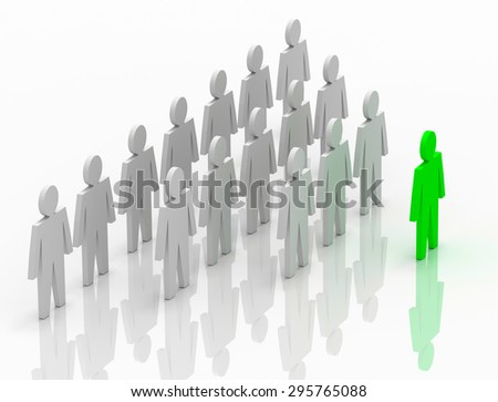 Illustration of leader leads the team forward. Green and white people - stock photo