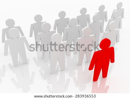 Illustration of leader leads the team forward. Red and white people