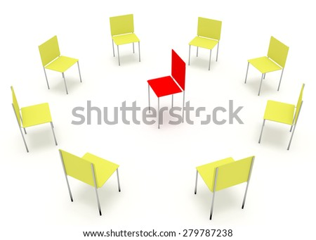 Illustration of leadership in the company. One red and eight yellow chair. - stock photo
