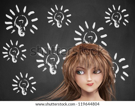 Illustration of light bulb on chalkboard background and thoughtful girl. - stock photo