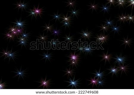 Illustration of light rainbow colored stars on night sky background - stock photo