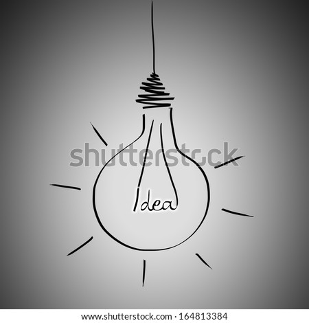 Illustration of lightbulb with word IDEA inside. Inspiration concept background - stock photo