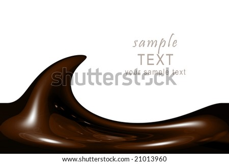 illustration of liquid chocolate swirl with lots of copy space