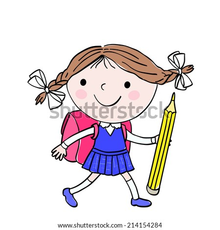 Illustration of little girl who is going to school with the pink bag and big yellow pencil on the white background - stock photo