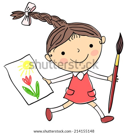 Illustration of little girl with child's drawing and big paintbrush on the white background - stock photo
