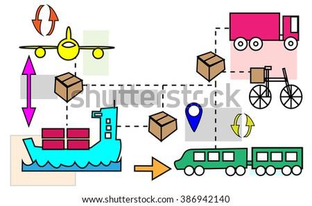Illustration of logistics transport movements - stock photo