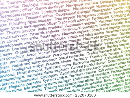 Illustration of lots of text showing titles of professions with gradient effect