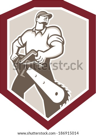 Illustration of lumberjack arborist tree surgeon holding a chainsaw viewed from low angle set inside shield crest shape on isolated white background done in retro style. - stock photo