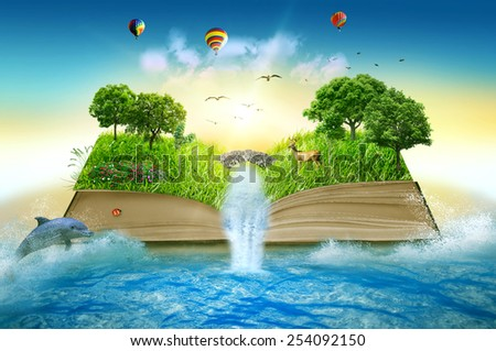 Illustration of magic opened book covered with grass trees and waterfall surround by ocean. Fantasy world, imaginary view. Book, tree of life concept. Original beautiful screen saver - stock photo