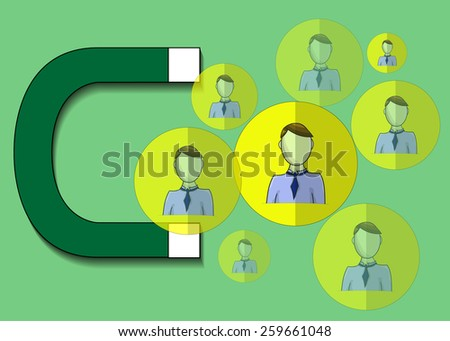 Illustration of magnet attracting business people - stock photo