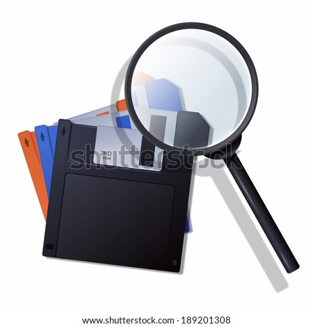 Illustration of magnifying glass and floppy disks