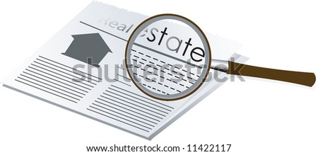 Illustration of magnifying glass and newspaper
