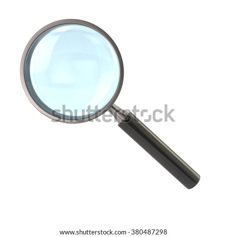 Illustration of magnifying glass with black handle isolated on white background
