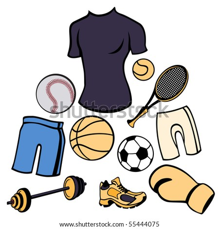 illustration of man accessories set related to sport life style. - stock photo