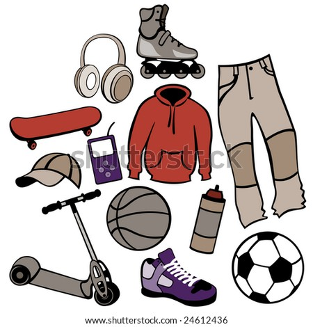 illustration of man accessories set related to urban life style. - stock photo