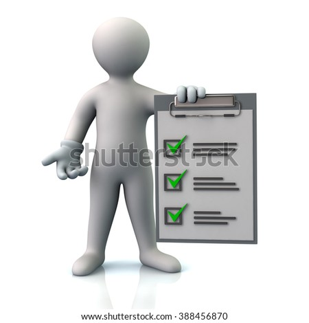 Illustration of man and check list isolated on white background - stock photo