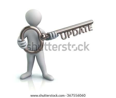 Illustration of man and silver key with word update - stock photo