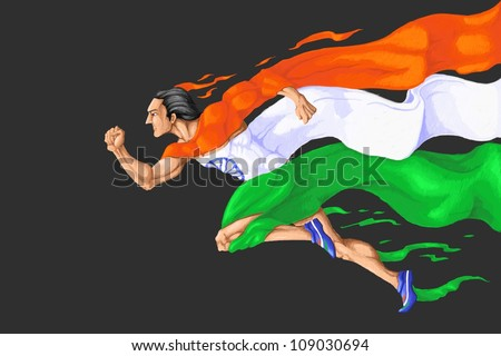 illustration of man running in tricolor Indian flag - stock photo