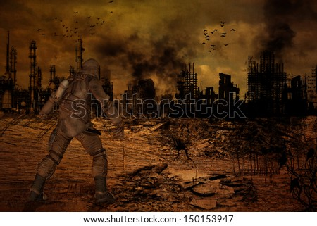 Illustration of man standing in front of a destroyed city