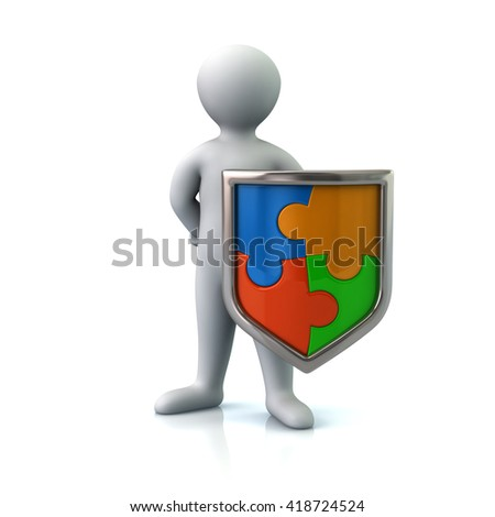 Illustration of man with colorful puzzle shield isolated on white background - stock photo