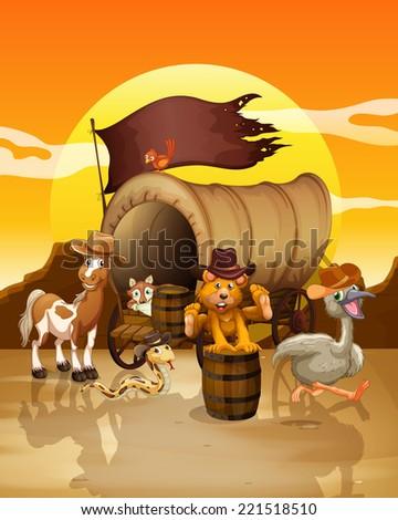 Illustration of many animals at the sunset - stock photo