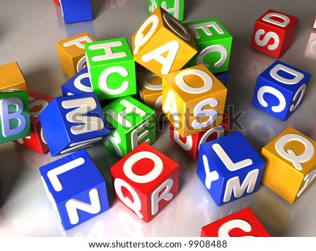Illustration of many colorful cubes with letters