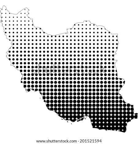 Illustration of map with halftone dots - Iran