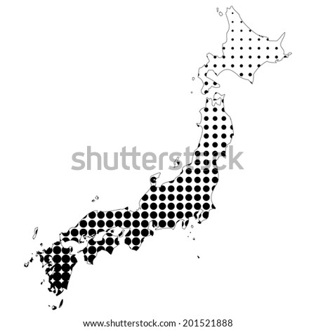 Illustration of map with halftone dots - Japan