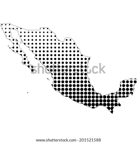 Illustration of map with halftone dots - Mexico  - stock photo