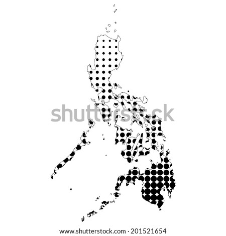 Illustration of map with halftone dots - Philippines