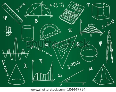 Illustration of mathematics - school supplies, geometric shapes and expressions on school board - stock photo