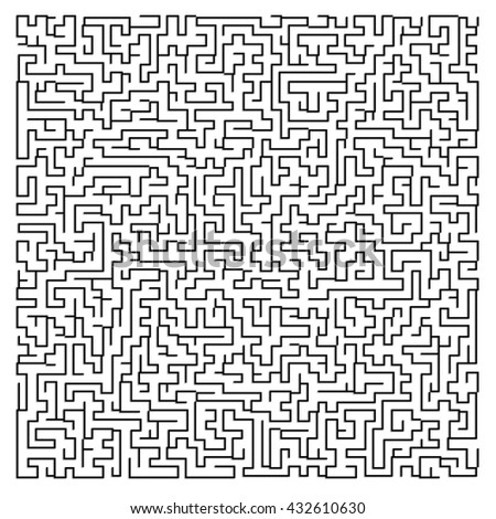 Illustration of maze, labyrinth. Isolated on white background. - stock photo