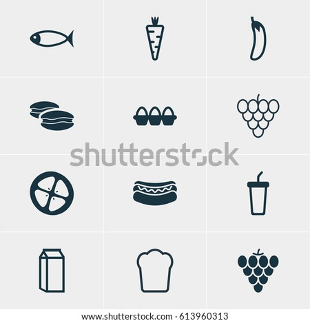 Illustration Of 12 Meal Icons. Editable Pack Of Loaf, Soft Drink, Milk And Other Elements.