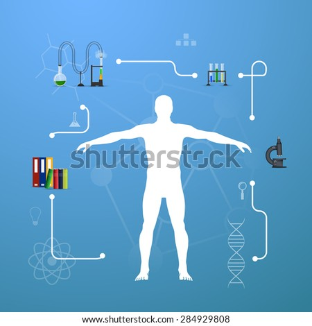 illustration of medicine infographics. Schematic description of the human body. - stock photo