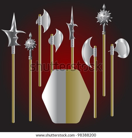 Illustration of medieval weapons and shield - stock photo