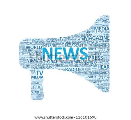 Illustration of megaphone symbol made up of various news words. Isolated on white. - stock photo