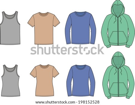 Illustration of men's and women's casual clothes. Singlet, t-shirt, jumper, smock. Raster version