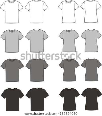 black white tshirt template stock vector 94568680 shutterstock. Black Bedroom Furniture Sets. Home Design Ideas