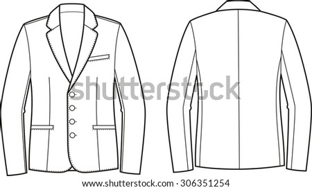 Illustration of men's business jacket. Front and back views. Raster version - stock photo