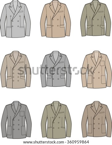 Illustration of men's double-breasted business jacket. Raster version - stock photo