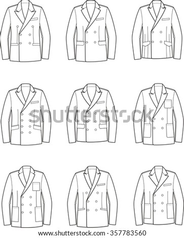 Vector Illustration Mens Doublebreasted Jacket Clothes Stock ...