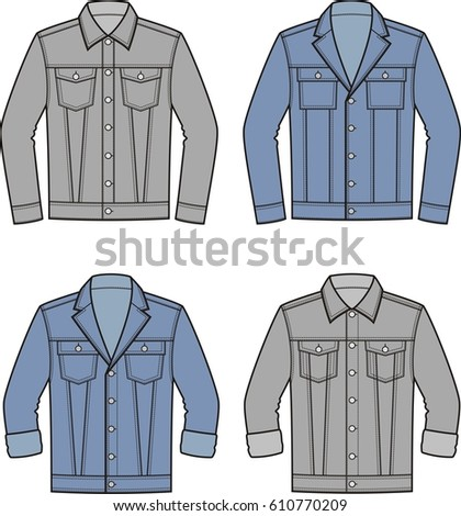 illustration mens jean jacket clothes denim stock illustration